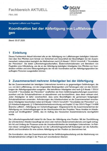 """FBVL-005 """"Koordination bei der Abfertigung von Luftfahrzeugen"""""""