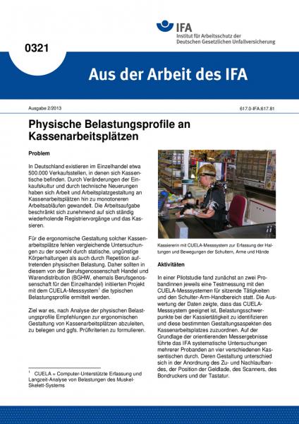 Physische Belastungsprofile an Kassenarbeitsplätzen. Aus der Arbeit des IFA Nr. 0321