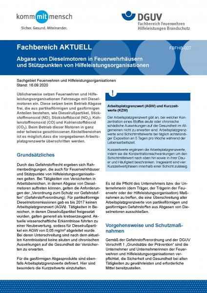 """FBFHB-027 """"Abgase von Dieselmotoren in Feuerwehrhäusern und Stützpunkten von Hilfeleistungsorganisat"""