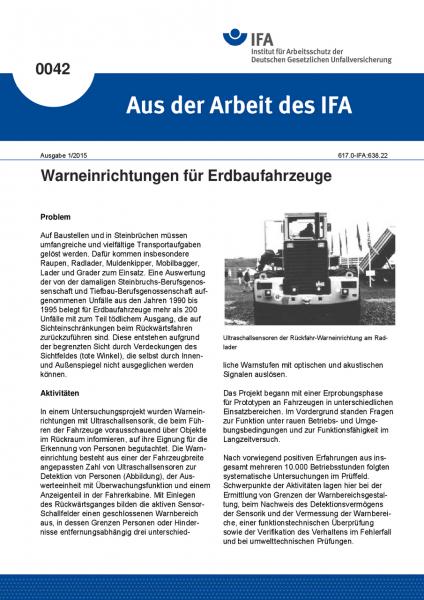 Warneinrichtungen für Erdbaufahrzeuge. Aus der Arbeit des IFA Nr. 0042