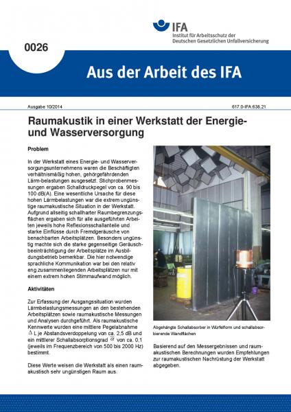 Raumakustik in einer Werkstatt der Energie- und Wasserversorgung. Aus der Arbeit des IFA Nr. 0026