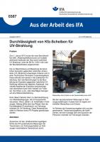 """Durchlässigkeit von Kfz-Scheiben für UV-Strahlung (""""Aus der Arbeit des IFA"""" Nr. 0387)"""