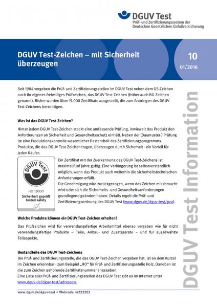 DGUV Test-Zeichen - mit Sicherheit überzeugen