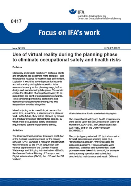 Use of virtual reality during the planning phase to eliminate occupational safety and health risks (
