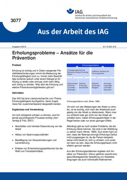 Erholungsprobleme – Ansätze für die Prävention (Aus der Arbeit des IAG Nr. 3077)