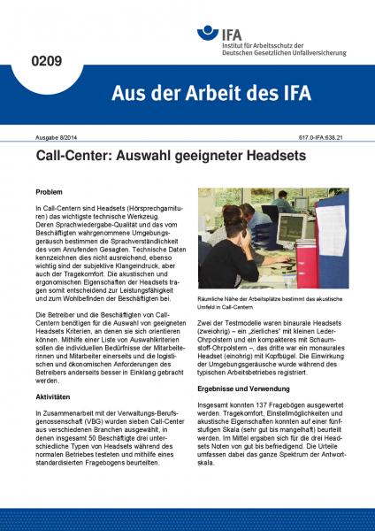 Call-Center: Auswahl geeigneter Headsets. Aus der Arbeit des IFA Nr. 0209