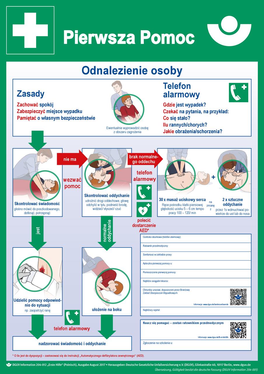 Erste Hilfe (Plakat, DIN A2, polnisch) Pierwsza Pomoc