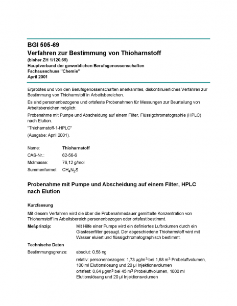 Verfahren zur Bestimmung von Thioharnstoff