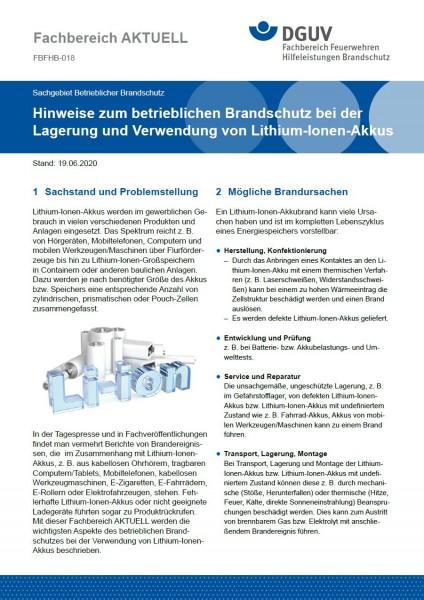 """FBFHB-018 """"Hinweise zum betrieblichen Brandschutz bei der Lagerung und Verwendung von Lithium-Ionen-"""