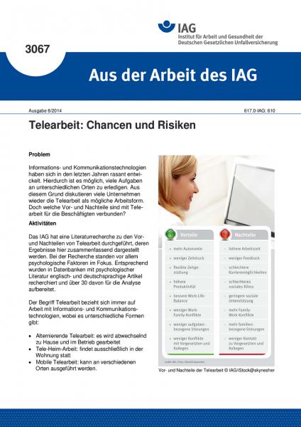 Telearbeit: Chancen und Risiken (Aus der Arbeit des IAG Nr. 3067)