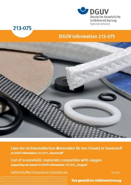 Liste der nichtmetallischen Materialien für den Einsatz in Sauerstoff/List of nonmetallic materials
