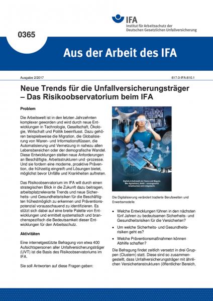 Neue Trends für die Unfallversicherungsträger - Das Risikoobservatorium beim IFA (Aus der Arbeit de