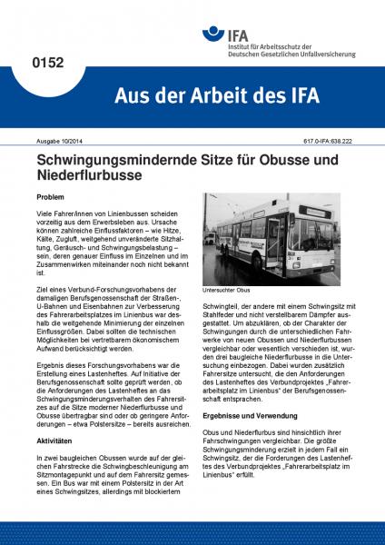 Schwingungsmindernde Sitze für Obusse und Niederflurbusse. Aus der Arbeit des IFA Nr. 0152