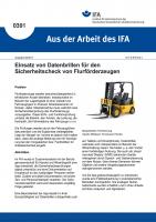 """Einsatz von Datenbrillen für den Sicherheitscheck von Flurförderzeugen (""""Aus der Arbeit des IFA"""" Nr. 0391)"""