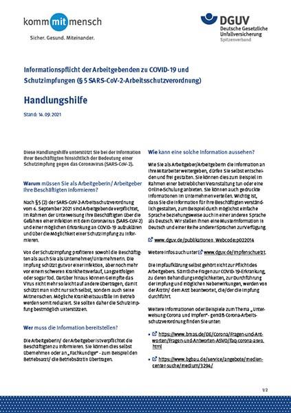 Informationspflicht der Arbeitgebenden zu COVID-19 und Schutzimpfungen (§5 SARS-CoV-2-Arbeitsschut