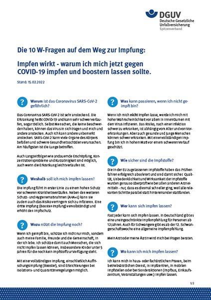 Die 10 W-Fragen auf dem Weg zur Impfung: Impfen wirkt - warum ich mich jetzt gegen COVID-19 impfen l