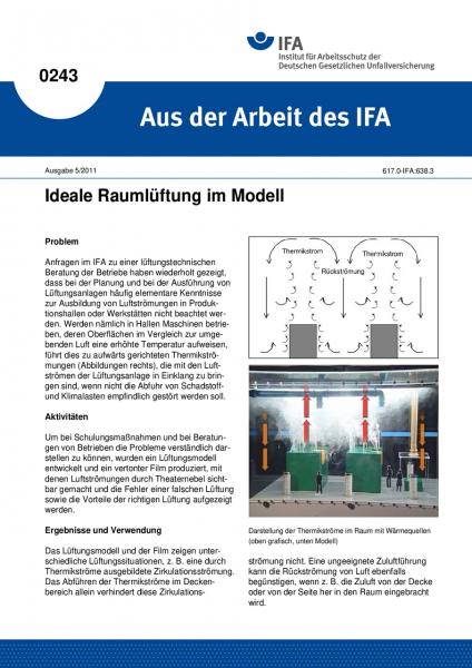 Ideale Raumlüftung im Modell. Aus der Arbeit des IFA Nr. 0243