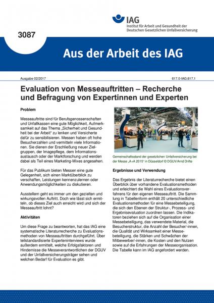 """Evaluation von Messeauftritten - Recherche und Befragung von Expertinnen und Experten (""""Aus der Arbe"""