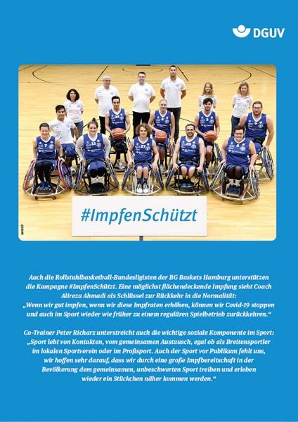 "Plakat #ImpfenSchützt, Motiv ""BG Baskets Hamburg"" (DGUV) Hochformat"