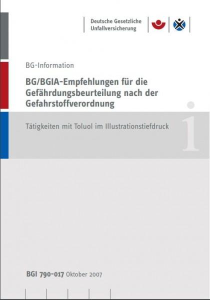BG/BGIA-Empfehlungen für die Gefährdungsbeurteilung nach der Gefahrstoffverordnung: Tätigkeiten mit