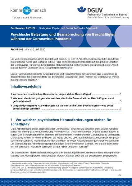 """FBGIB-005 """"Psychische Belastung und Beanspruchung von Beschäftigten während der Coronavirus-Pandemie"""