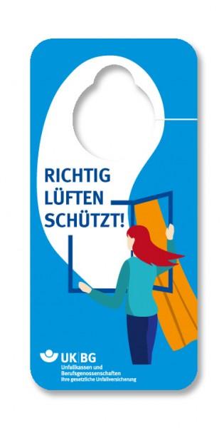 Arbeitsschutz ist Gesundheitsschutz - Richtig lüften schützt - Fensteranhänger
