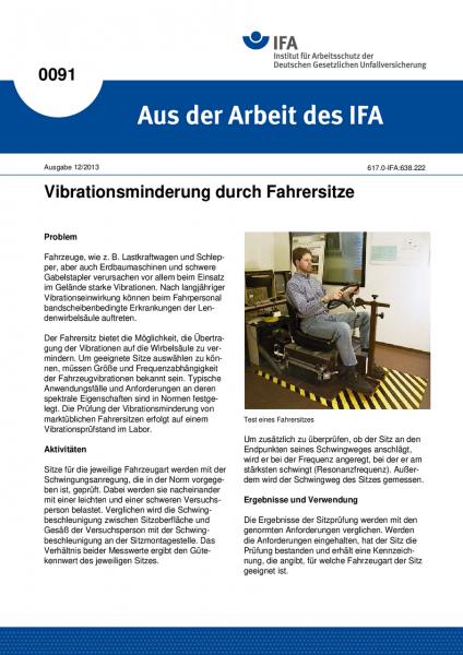 Vibrationsminderung durch Fahrersitze. Aus der Arbeit des IFA Nr. 0091