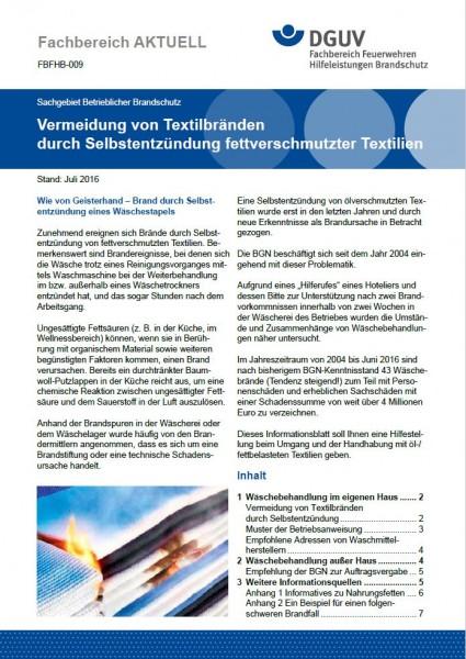 """FBFHB-009 """"Vermeidung von Textilbränden durch Selbstentzündung fettverschmutzter Textilien"""""""