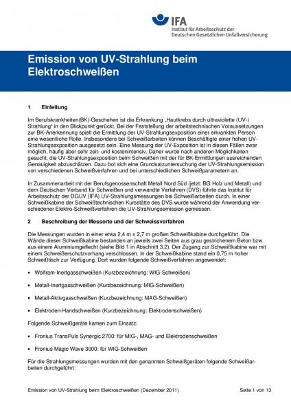 Emission von UV-Strahlung beim Elektroschweißen (Information des IFA)