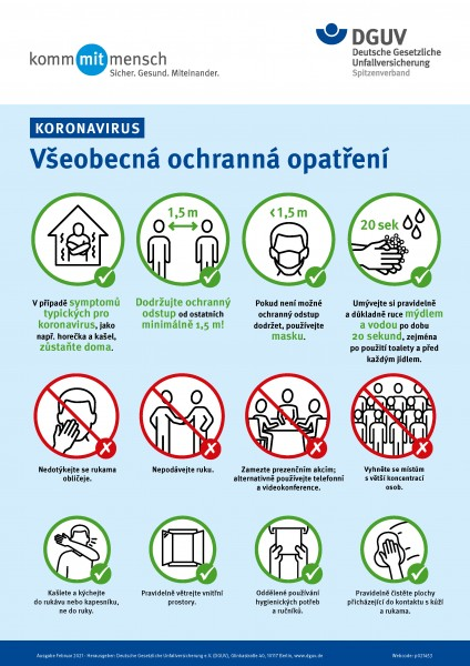 "Koronavirus - Všeobecná ochranná opatření (Plakat ""Coronavirus - Allgemeine Schutzmaßnahmen"" in tsc"