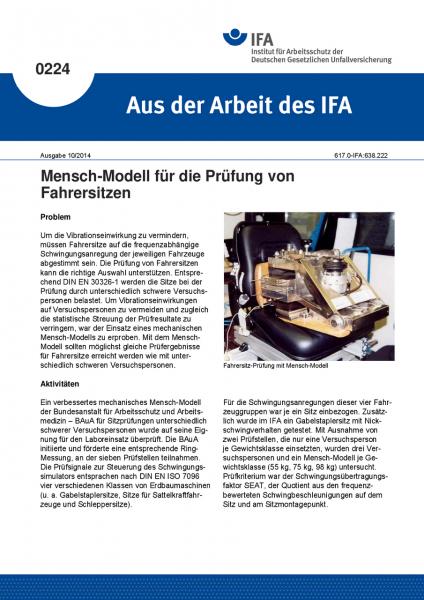 Mensch-Modell für die Prüfung von Fahrersitzen. Aus der Arbeit des IFA Nr. 0224