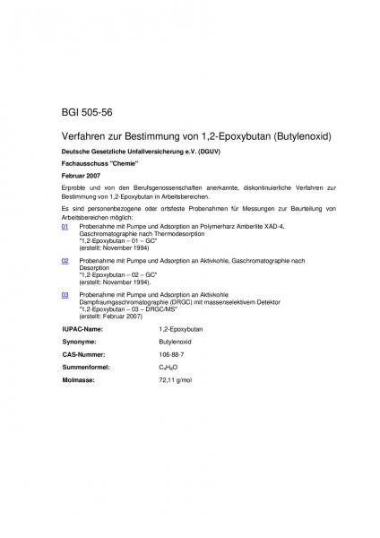 Verfahren zur Bestimmung von 1,2-Epoxybutan (Butylenoxid)