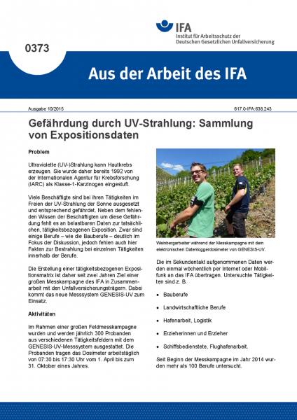 Gefährdung durch UV-Strahlung: Sammlung von Expositionsdaten (Aus der Arbeit des IFA Nr. 0373)