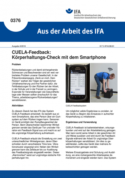 CUELA-Feedback: Körperhaltungs-Check mit dem Smartphone (Aus der Arbeit des IFA Nr. 0376)