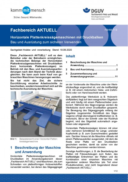 """FBHM-113 """"Horizontalplattenkreissägemaschinen mit Druckbalken - Bau und Ausrüstung zum sicheren Verw"""