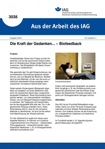 Die Kraft der Gedanken - Biofeedback. Aus der Arbeit des IAG Nr. 3038