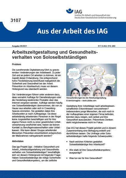 Arbeitszeitgestaltung und Gesundheitsverhalten von Soloselbstständigen (Aus der Arbeit des IAG 3107)