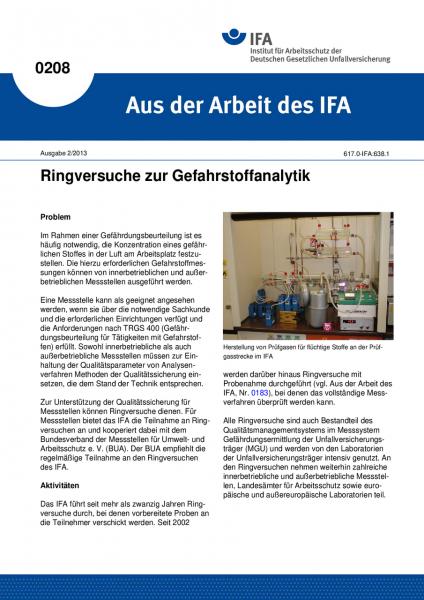 Ringversuche zur Gefahrstoffanalytik. Aus der Arbeit des IFA Nr. 0208