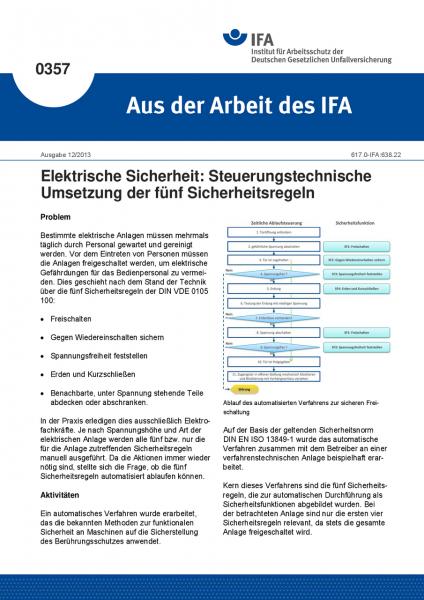 Elektrische Sicherheit: Steuerungstechnische Umsetzung der fünf Sicherheitsregeln (Aus der Arbeit de
