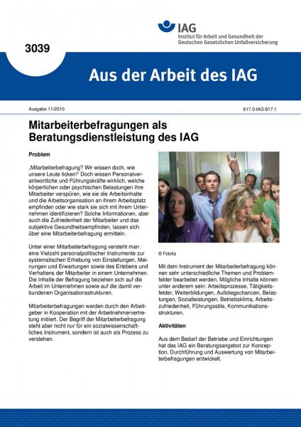 Mitarbeiterbefragungen als Beratungsdienstleistung des IAG. Aus der Arbeit des IAG Nr. 3039