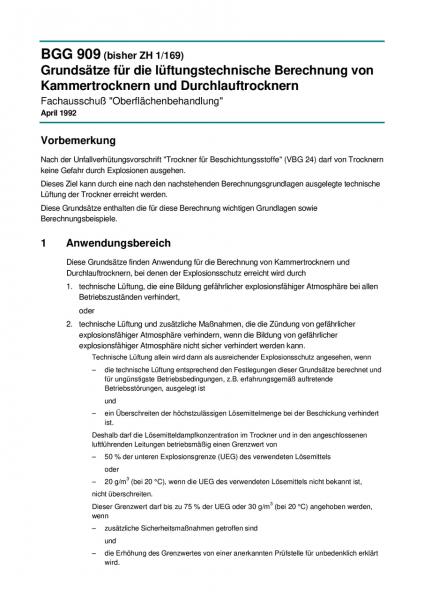 Grundsätze für die lüftungstechnische Berechnung von Kammertrocknern und Durchlauftrocknern