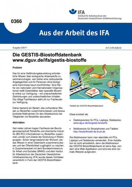 Die GESTIS-Biostoffdatenbank www.dguv.de/ifa/gestis-biostoffe (Aus der Arbeit des IFA Nr. 0366)