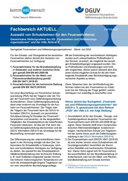 """FBFHB-028 """"Auswahl von Schutzhelmen für den Feuerwehrdienst"""""""
