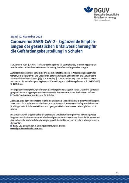 Coronavirus SARS-CoV-2 - Ergänzende Empfehlungen der gesetzlichen Unfallversicherung für die Gefährd