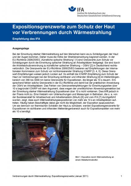 Expositionsgrenzwerte zum Schutz der Haut vor Verbrennungen durch Wärmestrahlung, Empfehlung des IFA