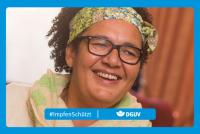 """Motiv #ImpfenSchützt, """"Manuela Garbrecht"""" (DGUV und BG Kliniken)"""