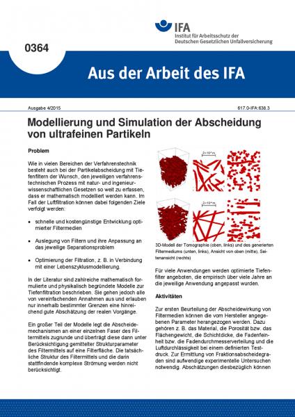 Modellierung und Simulation der Abscheidung von ultrafeinen Partikeln (Aus der Arbeit des IFA Nr. 03