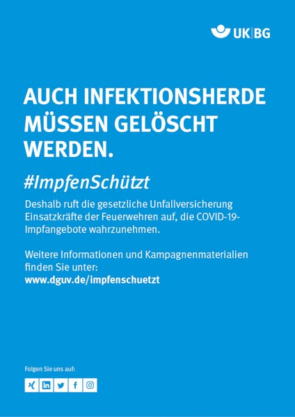 "Plakat #ImpfenSchützt, Motiv ""Infektionsherde löschen"" (UK|BG) Hochformat"
