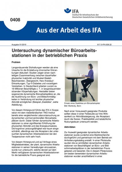 Untersuchung dynamischer Büroarbeitsstationen in der betrieblichen Praxis (Aus der Arbeit des IFA Nr