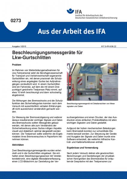 Beschleunigungsmessgeräte für Lkw-Gurtschlitten. Aus der Arbeit des IFA Nr. 0273